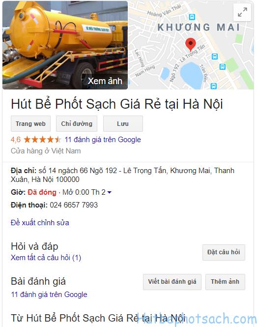 Thông tin doanh nghiệp của công ty hút bể phốt sạch trên google Map