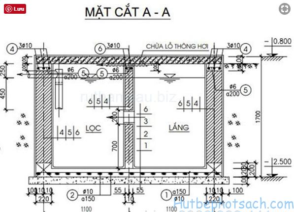 Cấu tạo bể tự hoại 2 ngăn CAD