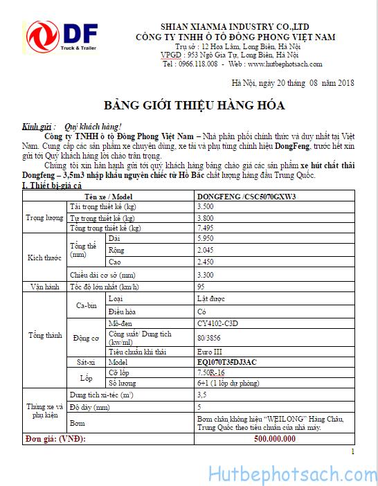 Bảng giá xe hút bể phốt 3 khối Dongfeng